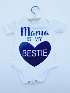 Mama is my Bestie baby bodysuit. How cute is this onesie? Because Mommy really is their first best friend. 😍 Adorable baby clothes from Little Arrows Boutique