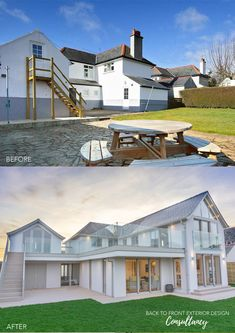 Modern Exterior Transformation on the Welsh Coast - Trend Kunst Bleistift 2020 Home Exterior Makeover, Exterior Remodel, Bungalow Haus Design, House Design, Style At Home, Architecture Plan, Architecture Diagrams, Architecture Portfolio, House With Balcony