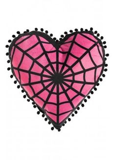 Sourpuss Webbed Heart Shaped Pillow | Attitude Clothing