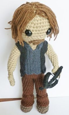 Daryl Dixon doll from The Walking Dead by LilKillerCuties on Etsy Crochet Doll Pattern, Crochet Dolls, Knit Crochet, Crochet Hats, Loom Knitting, Knitting Patterns, Crochet Patterns, Zombie Crafts, Stuff And Thangs