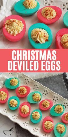Colored Deviled Eggs, Easter Deviled Eggs, Deviled Eggs Recipe, Christmas Dinner Menu, Christmas Appetizers, Holiday Recipes, Easter Recipes, Easter Ideas, Holiday Treats