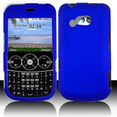 LG 900G for Stright Talk  Net 10 Accessory - Rubber Blue Hard Case Proctor Cover