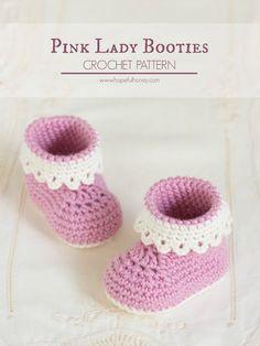 Hopeful Honey | Craft, Crochet, Create: Pink Lady Baby Booties - Free Crochet…