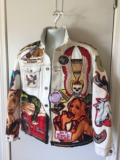 White denim men's medium patched warriors four horsemen of the apocalypse biker rock stagewear jacket - Aestheticly pleasing clothes that I would like to wear -