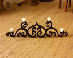 Miniature dollhouse wrought iron style candelabra with acrylic candles 1:12 scale