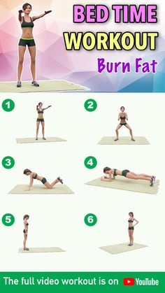 Bed Time Workout: Burn Fat All Night While You Sleep An evening workout routine is good if you want to burn calories even while you sleep Today's workout is a intensive calorie-burning workout. Full Body Gym Workout, Gym Workout Videos, Gym Workout For Beginners, Belly Fat Workout, Pilates Workout, Gym Workouts, At Home Workouts, Workout Routines, Workout Exercises At Home
