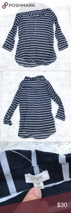 J. CREW Black and White Sheer Button Down Button down from J Crew in black and white stripes. Sheer material. Size medium, longer than a normal Button Down. J. Crew Tops Button Down Shirts