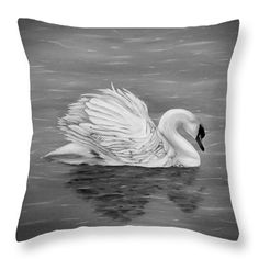 Swan Throw Pillow featuring the drawing Single Swan by Faye Anastasopoulou Fusion Art, Ocean Scenes, My Themes, Pillow Sale, Basic Colors, Artist At Work, Color Show, Pillow Inserts, Swan