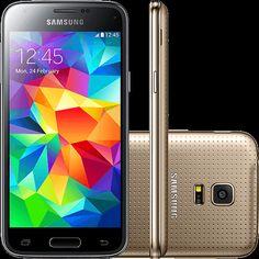 (Shoptime) Smartphone Samsung Galaxy S5 Mini Duos Dual Chip Desbloqueado Android 4.4 Tela 4.5 ´ 16GB 3G Wi - Fi Câmera 8MP GPS - Dourado -…