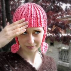 Crocheted Pink 'wigg', isn't that handy?