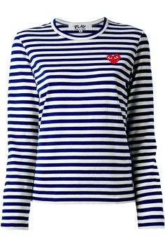 70519426367b Comme des Garcons Play L S Navy Striped Tshirt Red Heart at Parlour X