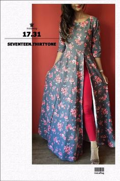 Tall girls out there this is a perfect Anarkali kurti for u A single side slit anarkali Cost of dis dress plz Must have for that oomph in your wardrob For Foral design Indian Gowns Dresses, Indian Fashion Dresses, Indian Designer Outfits, Pakistani Dresses, Indian Outfits, Designer Dresses, Simple Kurti Designs, Kurti Neck Designs, Kurta Designs Women