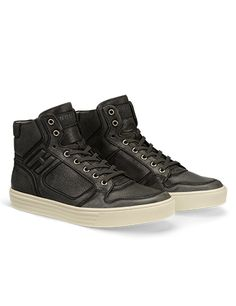 #HOGANREBEL Men's Spring - Summer 2013 #collection: worn effect leather for the High-Top basket #sneakers R206.