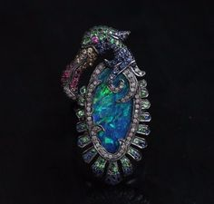 Opal Gemstone Sapphire 925 Silver Diamond Pave TOUCAN Ring Jewelry NEW ARRIVALS! #raj_jewels