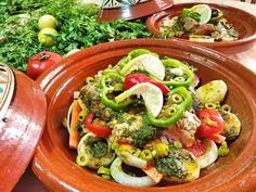 Classic Moroccan Fish Tagine with Chermoula and Vegetables - Taste of Maroc Seasoned Potatoes, Sliced Potatoes, Fish Tagine, Tagine Recipes, Preserved Lemons, Sliced Tomato, Fresh Coriander, Sea Bass, Recipe For 4