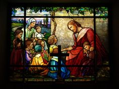 Description: Buffalo, New York (NY): Episcopal Church of the Good Shepherd: Christ Blessing the Little Children (1930, Tiffany Studios)