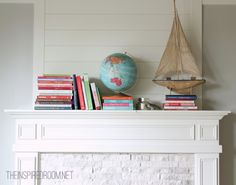 spring book mantel