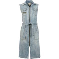 Sea Long Dresses ($475) ❤ liked on Polyvore featuring dresses, denim blue, long shirt dress, blue sleeveless dress, sea, new york, no sleeve dress and blue button dress