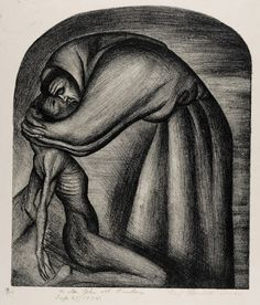 """The Franciscan and the Indian"", 1926, Jose Clemente Orozco, Mexican (1883-1949), lithograph on paper, 12 15/16 x 10 5/15 in. Gift of the Honorable John M. Wisdom, 1973. 1973.1889"