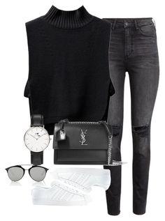 """Untitled #1335"" by ruhika29 ❤ liked on Polyvore featuring H&M, Yves Saint Laurent, adidas, Daniel Wellington and Christian Dior"