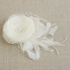 Bridal flower hair accessory, Ivory fascinator, wedding head hair piece, velvet leaves pearl feather french russian tulle lace STYLE F3-302 on Etsy, $45.00