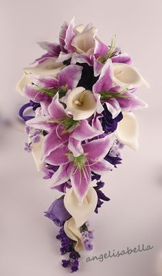 purple+calla+lilies+wedding+flowers | ... Shades of Purple Ivory roses Calla lily wedding silk flower decoration  ** I like this, but with the tiger lilies of course :)
