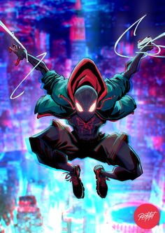 Art by Richard Méril Black Spiderman, Spiderman Movie, Spiderman Spider, Amazing Spiderman, Hq Marvel, Marvel Heroes, Spiderman Pictures, Miles Morales Spiderman, Superhero Poster