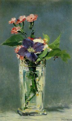 Edouard Manet, Oeillets et Cematite dans un Vase de Cristal (1882)