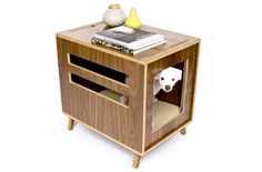 Image of Dwell Crate Mid Century Modern Pet Furniture Dog House Side Table