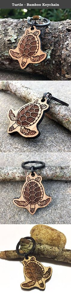"""Turtle - Bamboo Keychain. Every Hibiscus Bamboo Keychain comes packed inside its own individual recycled cardboard box plus a free panda sticker and air guitar. Most orders ship 1-2 business days after your order is placed via USPS First Class (US) from our location in Florida. SIZE: 1.5"""" x 1.4"""" MATERIALS: 3mm (1/8"""") Thick Moso Bamboo 25mm (~1"""") Black Steel Key Ring MORE DETAILS: Light Weight Durable (Stronger than most woods) Eco-friendly."""