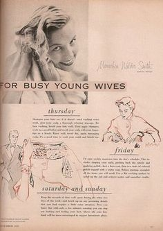 1952 beauty guide insists women should be primped at all times Lather, rinse, but don't repeat: Mariechen advised women to only wash their once a week to maintain their lustrous locks, choosing Thursday as the best day to suds up Beauty Guide, Beauty Hacks, Beauty Care, Beauty Secrets, Beauty Products, Beauty Regimen, Face Beauty, Beauty Style, Beauty Shop