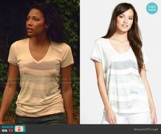 Eva's wave graphic tee on Under the Dome.  Outfit Details: http://wornontv.net/50813/ #UndertheDome