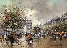 Antoine Blanchard (1910 - 1988) Arc de Triomphe, Champs Elysees