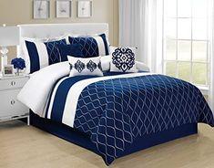 Down Comforter, Queen Comforter Sets, King Comforter, Bedding Sets, Bedding Storage, Navy Blue Bedding, Blue Bedroom, Master Bedroom, Neutral Bedding