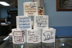 9 Toilet Paper sayings or images Filled Machine by WingsicalWhims
