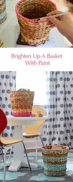 Easy basket painting project (kids room idea - yay cute storage)