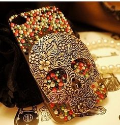 Fancy - Retro Vintage Skull Rhinestone Handmade Case For Iphone 5 on Luulla Cool Iphone Cases, Iphone 4s, Iphone Leather Case, Iphone Accessories, Retro Vintage, Bling, Fancy, Handmade, Huichol Art