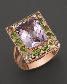 Pink Amethyst, Peridot, Lemon Quartz And 14K Rose Gold Ring