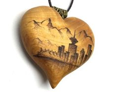 Vancouver Skyline Heart - wooden heart necklace, heart pendant, pyrography pendant, wood burned necklace, wood jewelry