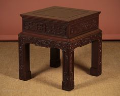 Chinese Urn Stand Or Side Table. - Antiques Atlas Antique Chinese Furniture, Hall Furniture, Chocolate Color, Get Directions, Antique Shops, Garden Ideas, Hardwood, Oriental, Carving