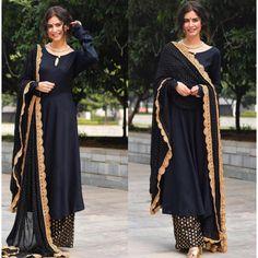 Black heavy rayon golden zari weaving work plazzo suit Plazzo Suits, Salwar Suits, Black Salwar Suit, Ethinic Wear, Suits 5, Silk Dupatta, Festival Wear, Office Wear, Party Wear