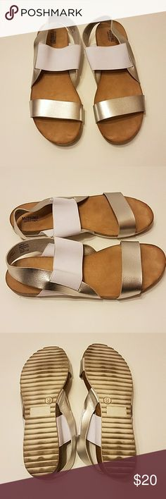 Target metallic cork sandals Silver metallic straps with a white elastic over the top of the foot, very comfortable size 9, target Mossimo, youtuber leighannsays has the exact same pair Mossimo Supply Co Shoes Sandals