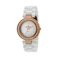 Peugeot Rose Gold Tone Crystal Watch