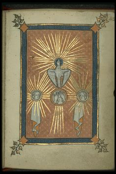 Rothschild Canticles (f. 42r): Trinity. ca. 1300. Description: Three medallions with faces arranged horizontally emanate rays of golden light. The Holy Ghost, also emanating golden rays of light from its head, flies upward above the three medallions.