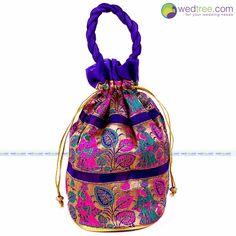 Potli Bag - Golden Leaf with Lady & Pot | #Wedtree #PotliBags #DesignerPotliBags