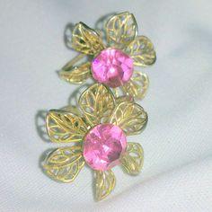 Vintage Pink Rhinestone Filigree Flower Earrings by BorrowedTimes