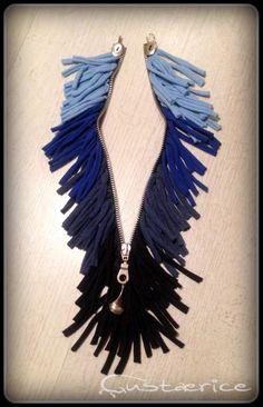Zipper fringe cotton necklace