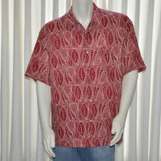 Tori Richard Hawaiian Shirt Mens Size XL Extra Large Red White Leaf Print #ToriRichard #Hawaiian