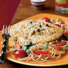 Chicken Piccata with Summer Vegetable Pasta from Cooking Light