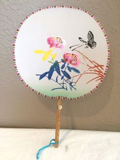 Vintage Chinese silk Hand Held fan Hand painted by KMSCollectibles